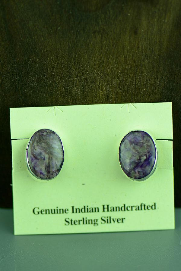 Navajo Sterling Silver Charoite Clip On Earrings by C. Jones