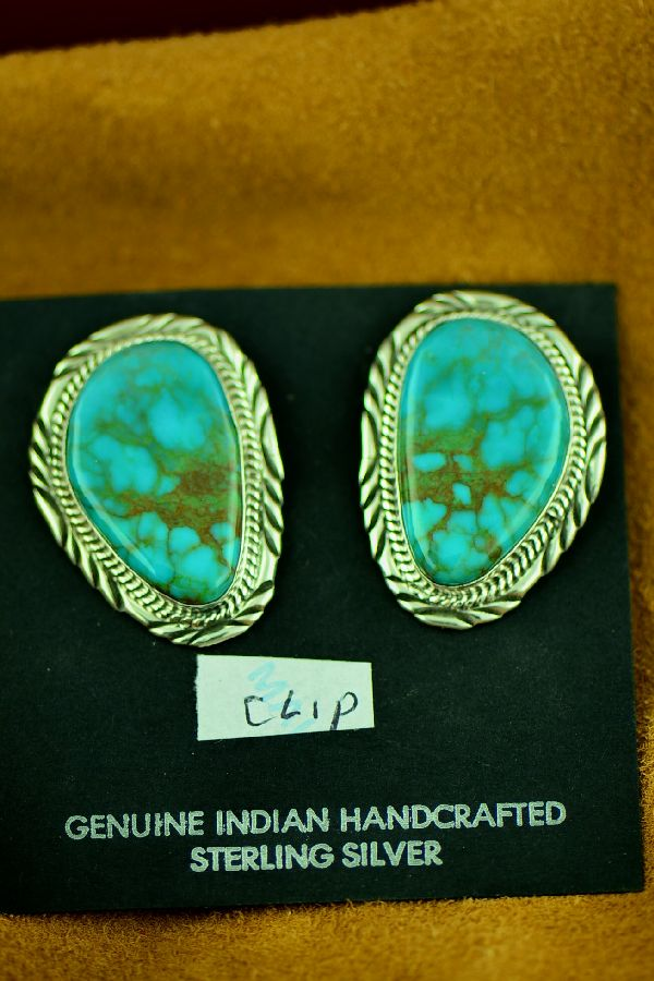 Will Denetdale Sterling Silver Royston Turquoise Clip On Earrings