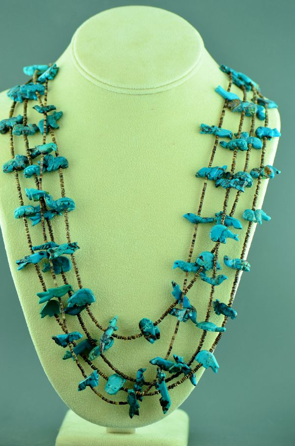Zuni – Four Strand Kingman Turquoise Buffalo, Bear, Bird, Rabbit, Duck, Fox, Turtle, Frog, and Parrot Penshell Shell Fetish Necklace (Circa 1960's) – Private Collection