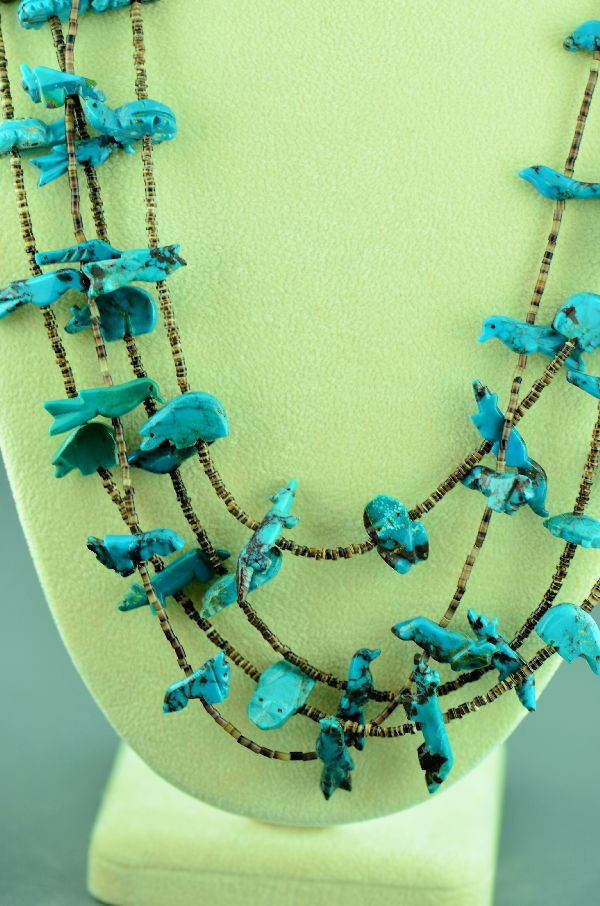 Zuni � Four Strand Kingman Turquoise Buffalo, Bear, Bird, Rabbit, Duck, Fox, Turtle, Frog, and Parrot Penshell Shell Fetish Necklace (Circa 1960�s) � Private Collection