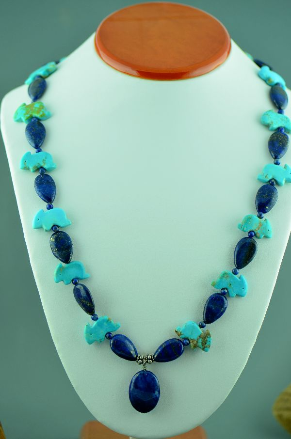Navajo Kingman Turquoise Rabbit and Lapis Fetish Necklace