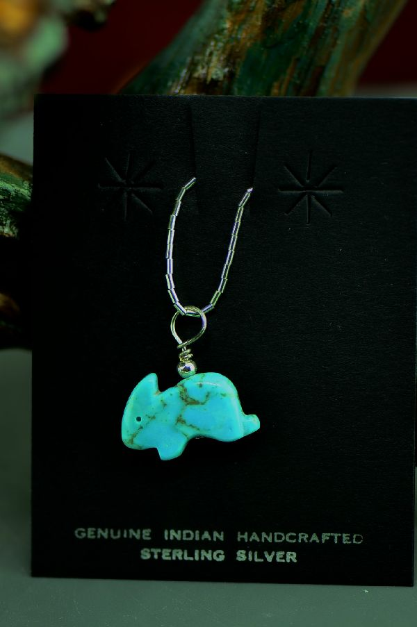 American Indian Turquoise Rabbit Fetish with Liquid Sterling Silver Necklace