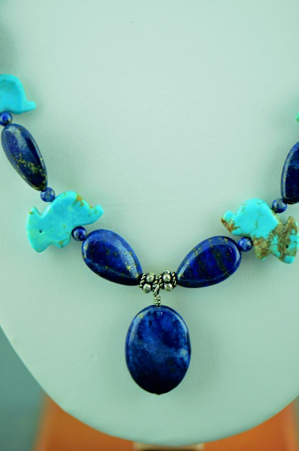Navajo– Hand Carved Kingman Turquoise Rabbit and Lapis Fetish Necklace (Private Collection)