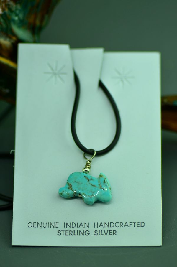 Navajo Hand Carved Kingman Turquoise Rabbit Fetish Necklace
