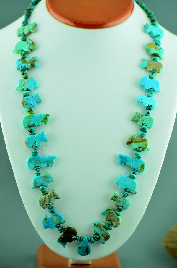 Navajo– Hand Carved Kingman Turquoise Horse and Rabbit Fetish Necklace (Private Collection)