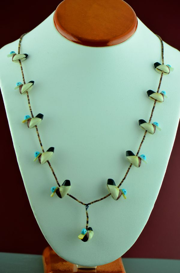 Navajo – Hand Carved  Duck Fetish Necklace by Maybelle Kelewood  (Private Collection)