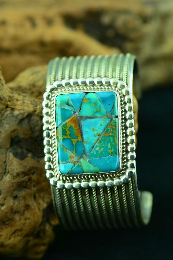 Navajo – Exquisite Sterling Silver Corn Row Inlaid Royston Turquoise Bracelet by Garrison Boyd (From a Private Collection)