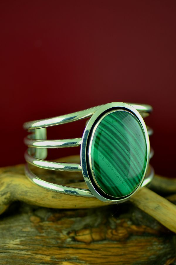 Navajo Sterling Silver Malachite Bracelet by Will Denetdale