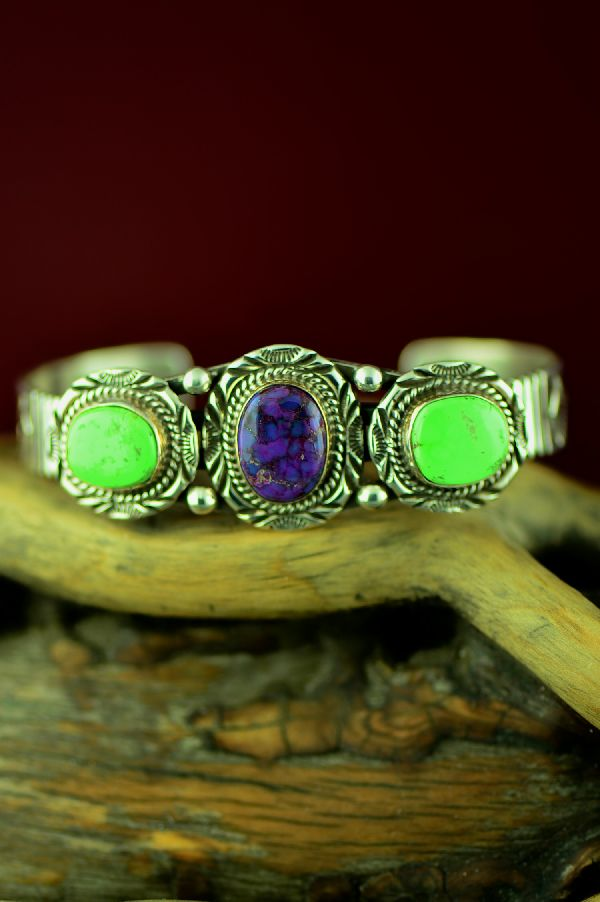 Navajo Sterling Silver Gaspeite and Mohave Purple Turquoise Bracelet by Will Denetdale