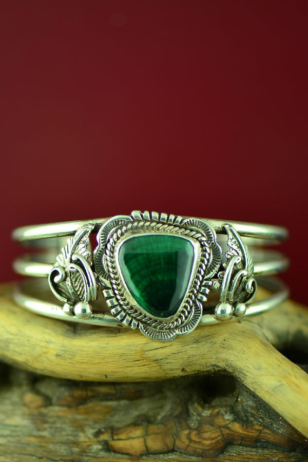 Navajo Malachite Sterling Silver Bracelet by Will Denetdale