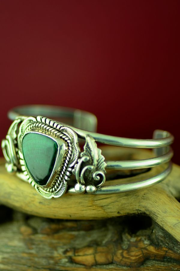Navajo Sterling Silver New Landers Turquoise Bracelet by Sammy Eagle