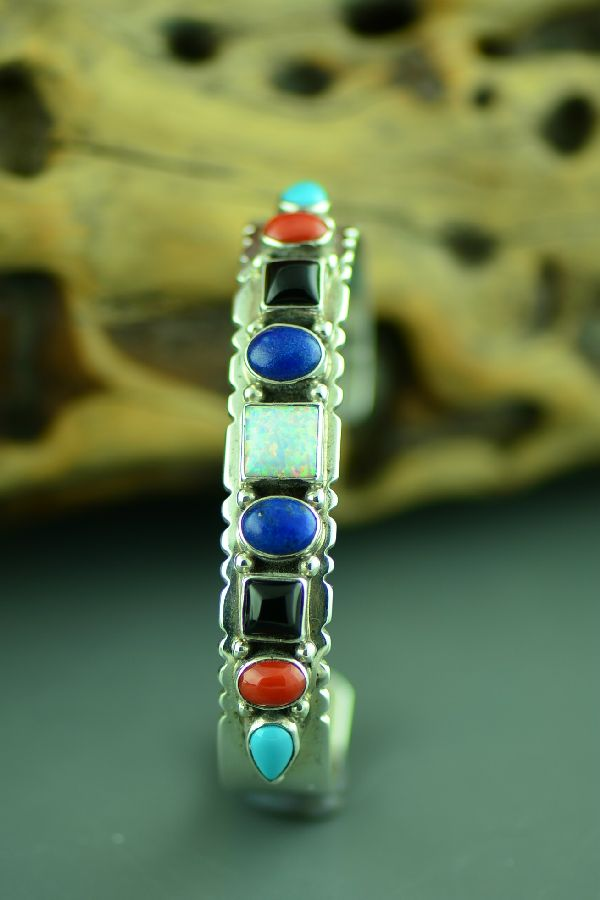 Navajo Sterling Silver Sleeping Beauty Turquoise, Coral, Black Onyx, Lapis and Lab Opal Bracelet by Ben Touchine