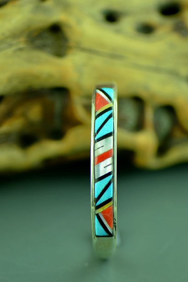 Zuni  Sterling Silver Turquoise, Coral, Jet and Mother of Pearl Inlaid Bracelet by M. Booqua