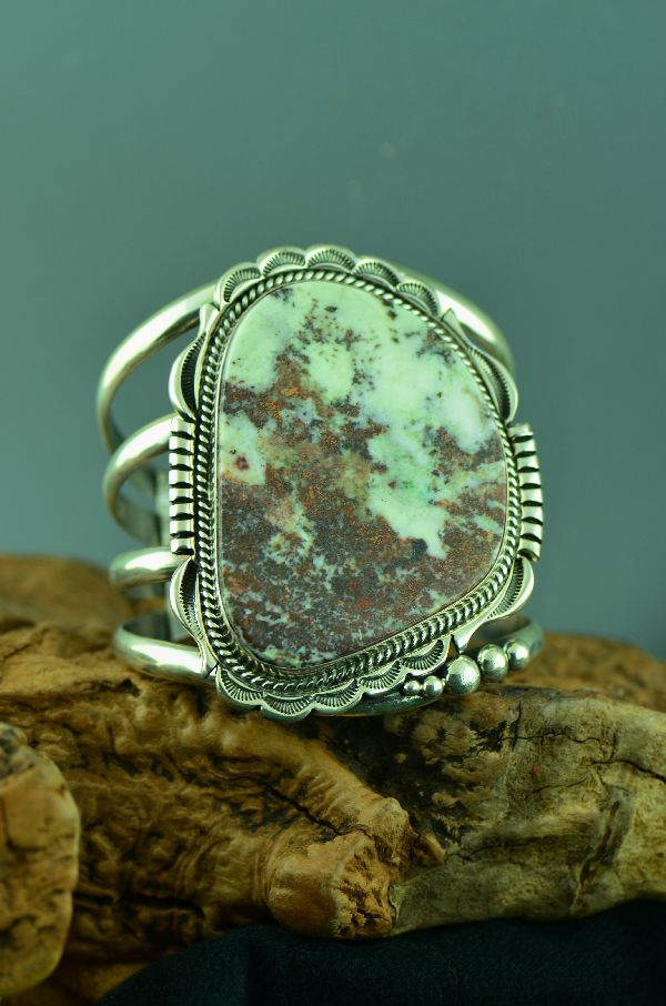 Navajo – Exquisite Sterling Silver Bisbee Cambellite Bracelet by Will Denetdale (From a Private Collection)