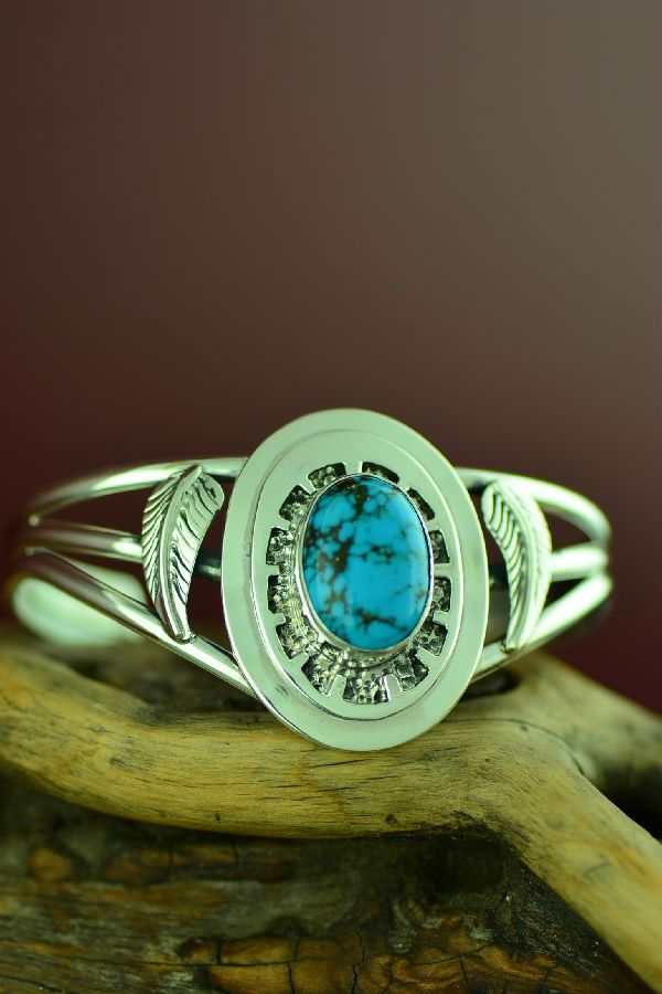Navajo Sterling Silver High Grade Kingman Turquoise Bracelet by Will Denetdale