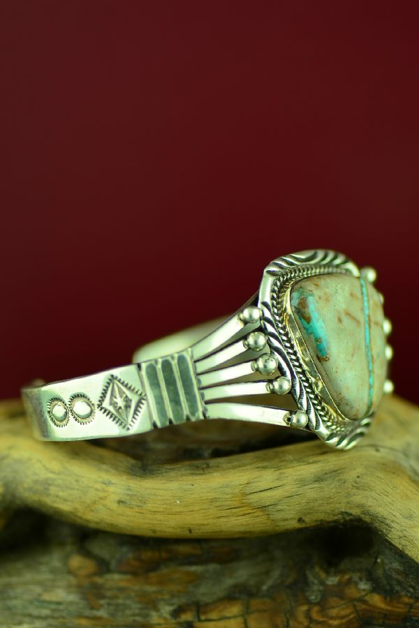 Navajo Sterling Silver Royston Blue Ribbon Turquoise Bracelet by Will Denetdale