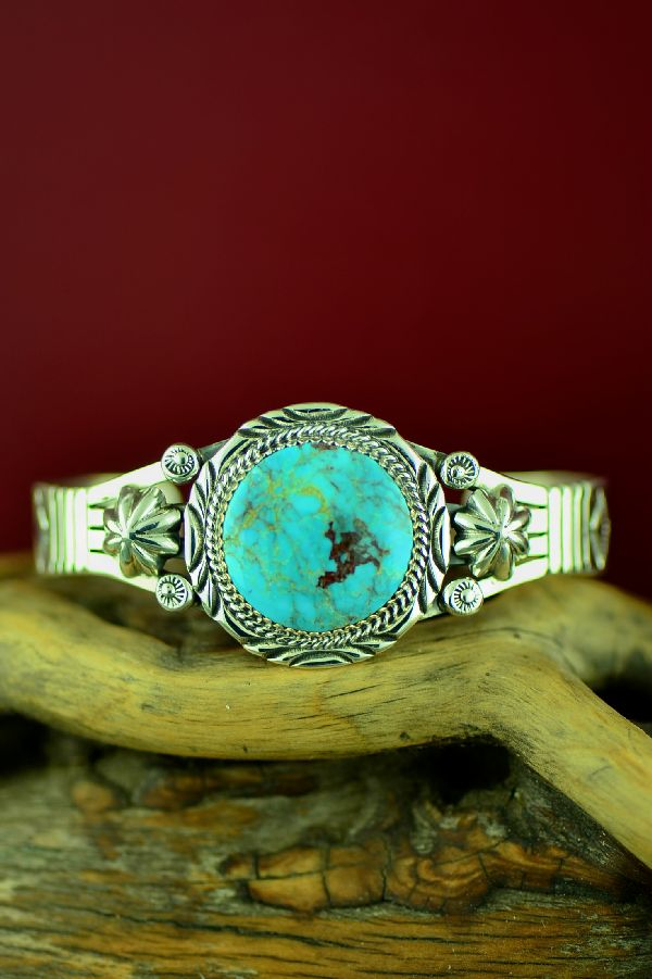Navajo High Grade Kingman Turquoise Bracelet by Will Denetdale