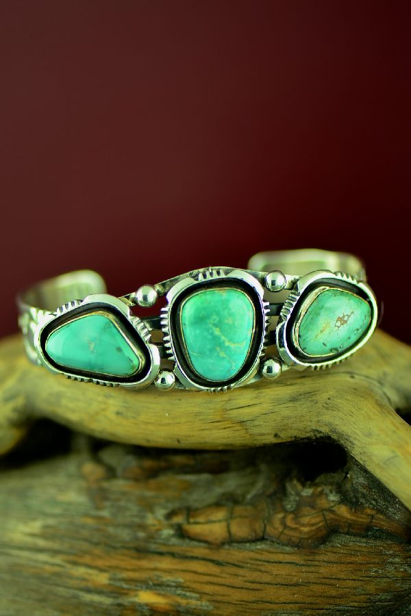 Navajo Fox Turquoise Sterling Silver Bracelet by Will Denetdale