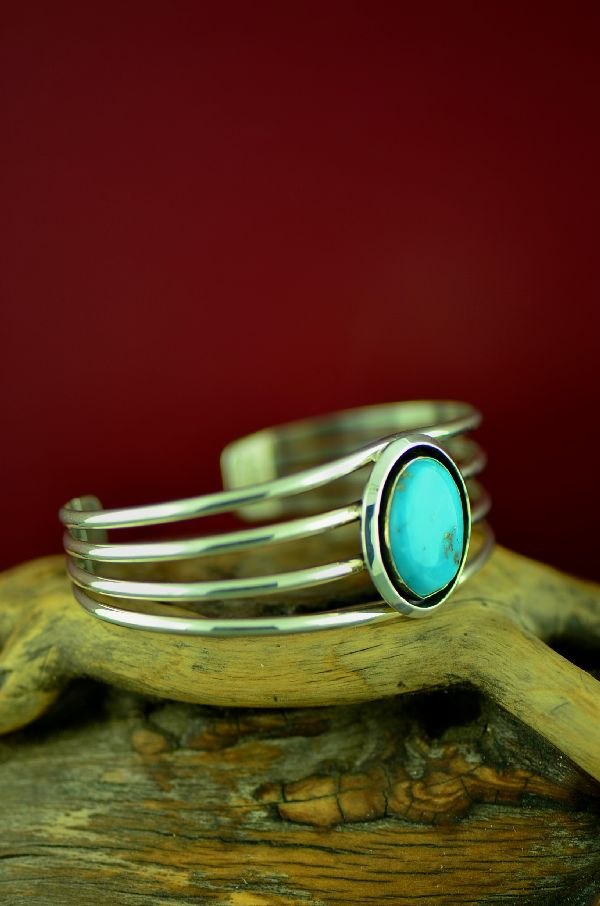 American Indian Morenci Turquoise Bracelet by Will Denetdale