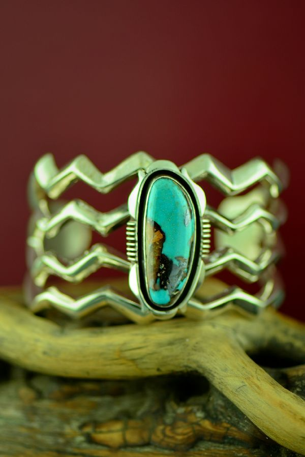 Navajo Exquisite Contemporary Sterling Silver High Grade Tyrone Turquoise Bracelet by R. Begay
