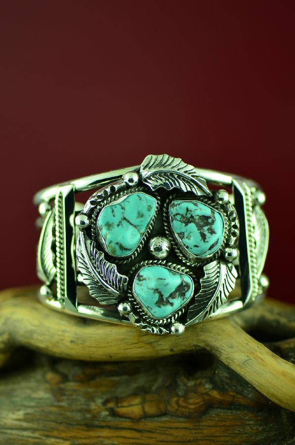 Navajo Exquisite Sterling Silver Dry Creek Turquoise Bracelet by Will Denetdale (Private Collection)