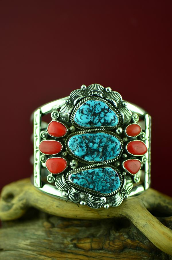 Navajo Sterling Silver Kingman Turquoise and Coral Bracelet by Will Denetdale