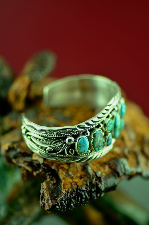 Navajo Exquisite Sterling Silver High Grade Turquoise Mountain Turquoise Bracelet by Will Denetdale