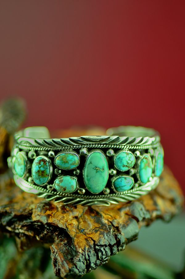 Navajo High Grade Turquoise Mountain Turquoise Bracelet by Will Denetdale