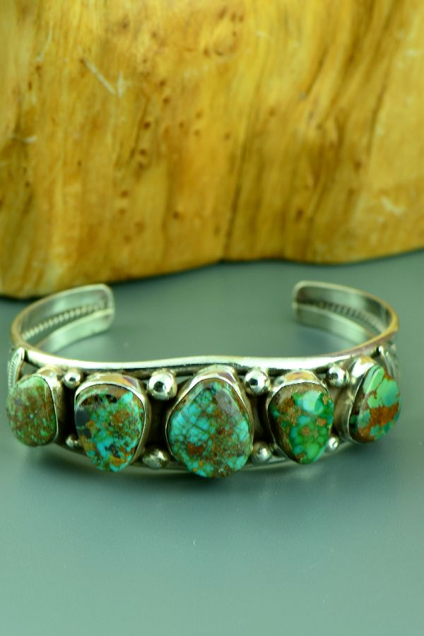Navajo – Exquisite Sterling Silver High Grade Ajax Turquoise Bracelet by Will Denetdale