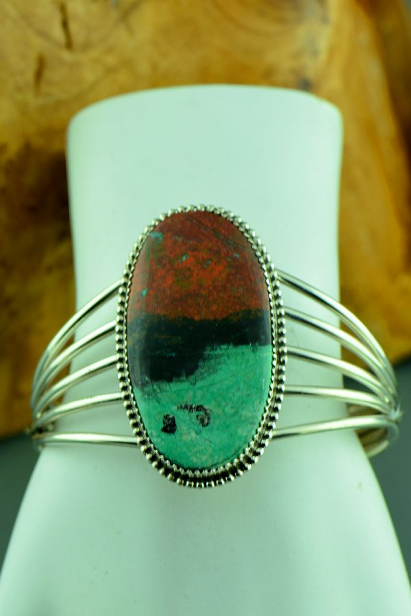 Navajo – Exquisite Sterling Silver Sonoran Sunrise Bracelet by Garrison Boyd