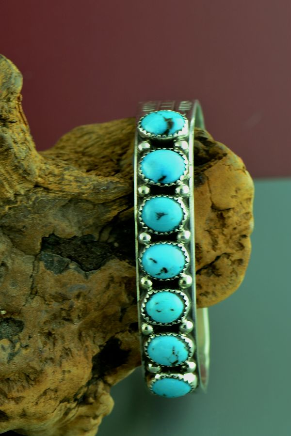 Navajo – Exquisite Sterling Silver High Grade Morenci Turquoise Bracelet by H> Begay