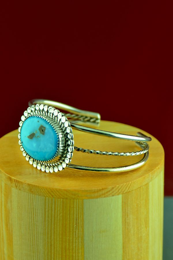 Navajo –Sterling Silver High Grade Morenci Turquoise Bracelet by Richard Begay