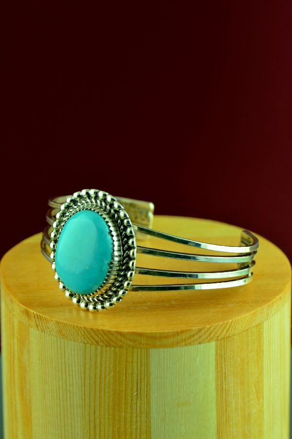 Navajo – Sterling Silver High Grade Morenci Turquoise Bracelet by Richard Begay