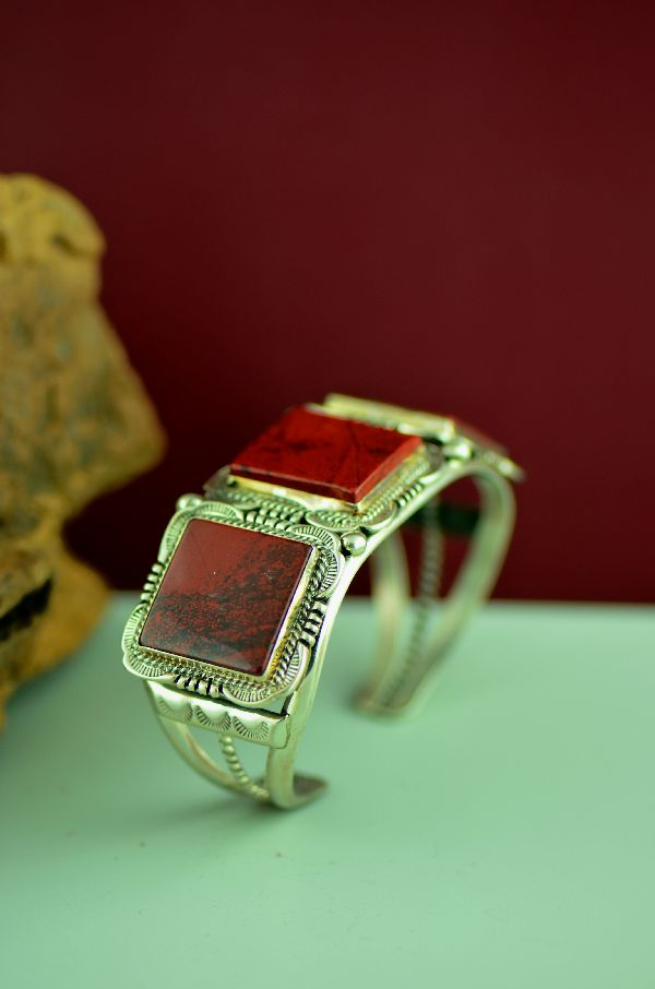 Navajo – Exquisite Sterling Silver Cooperite Bracelet by Will Denetdale