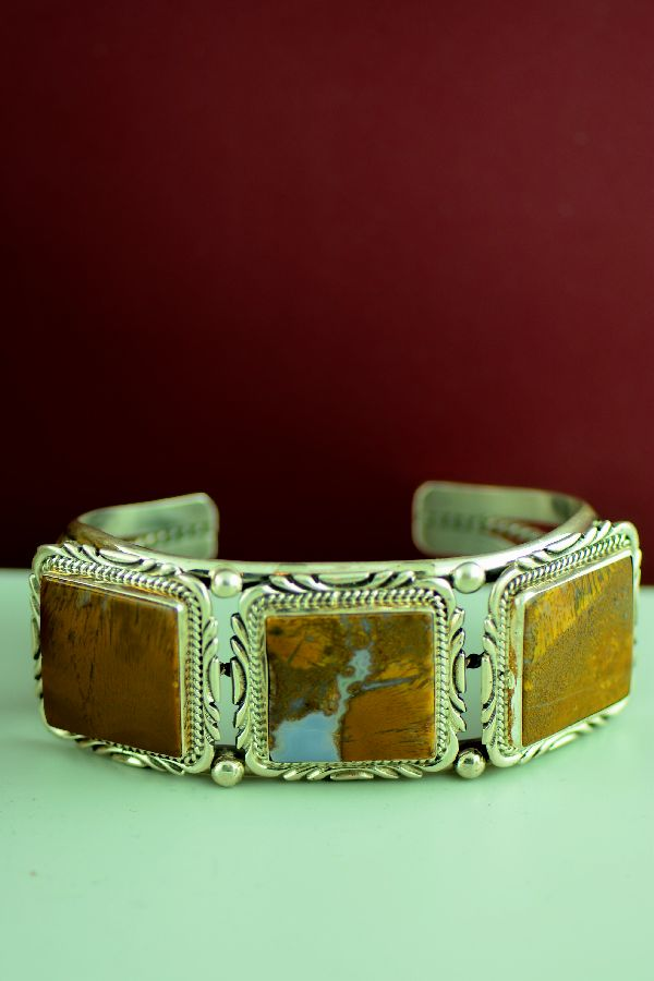 Navajo – Exquisite Sterling Silver Brecciated Jasper Bracelet by Will Denetdale