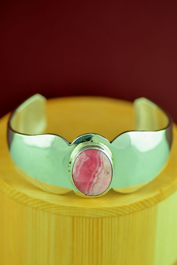 Navajo – Contemporary Sterling Silver Rhodochrosite Bracelet by Vernon James