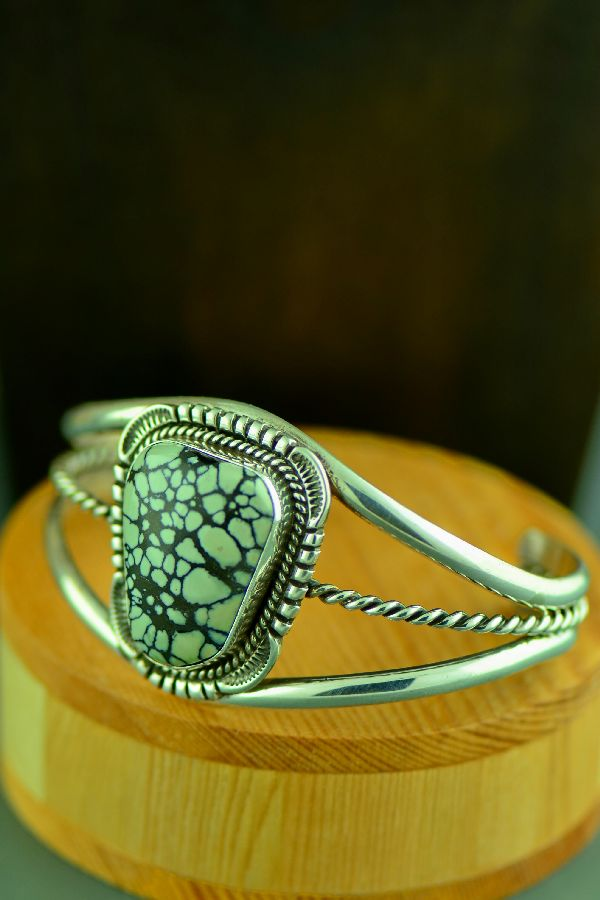 Navajo Exquisite Sterling Silver New Landers Turquoise Bracelet by Will Denetdale