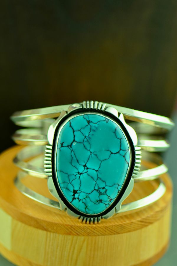 Navajo – Sterling Silver China Mountain Turquoise Bracelet by Will Denetdale