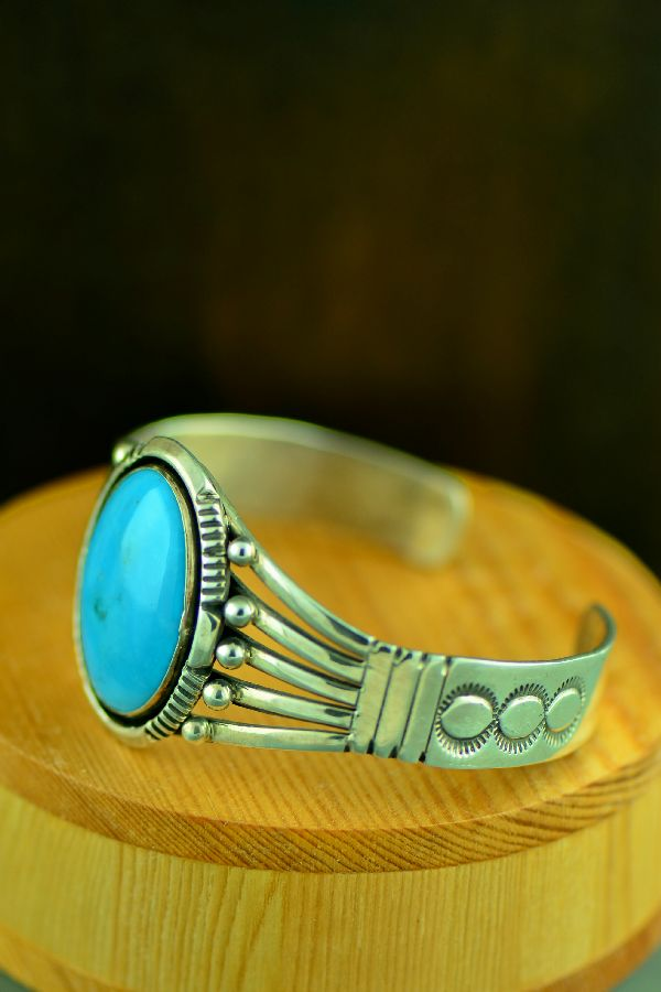 Navajo Sterling Silver Sleeping Beauty Turquoise Bracelet by Will Denetdale