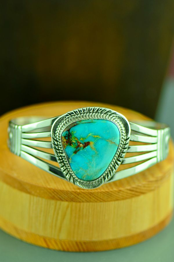Navajo Sterling Silver Royston Turquoise Bracelet by Will Denetdale