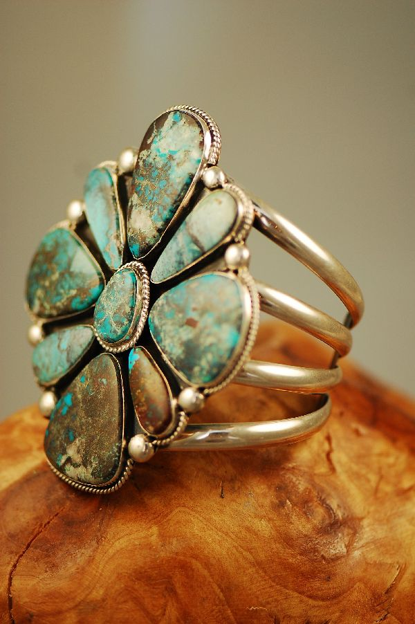 Navajo – Exquisite Heavy Weight Sterling Silver High Grade Natural Bisbee Turquoise Cluster Bracelet by Will Denetdale (From a Private Collection)