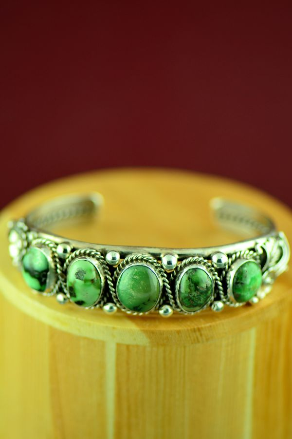 Navajo – Exquisite Sterling Silver High Grade Damali Turquoise Bracelet by Will Denetdale (From a Private Collection)
