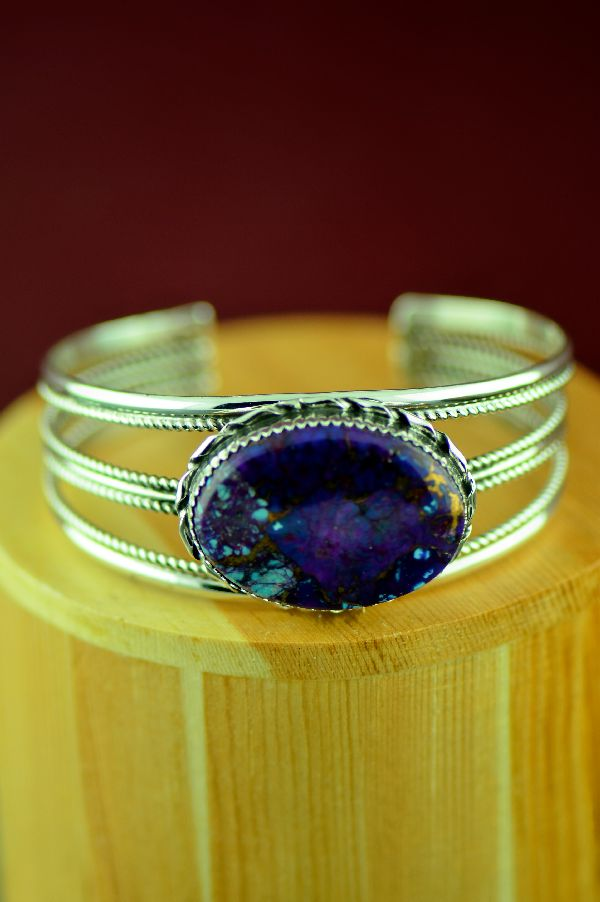 Navajo Sterling Silver Mohave Purple Turquoise Bracelet by Alvin Joe