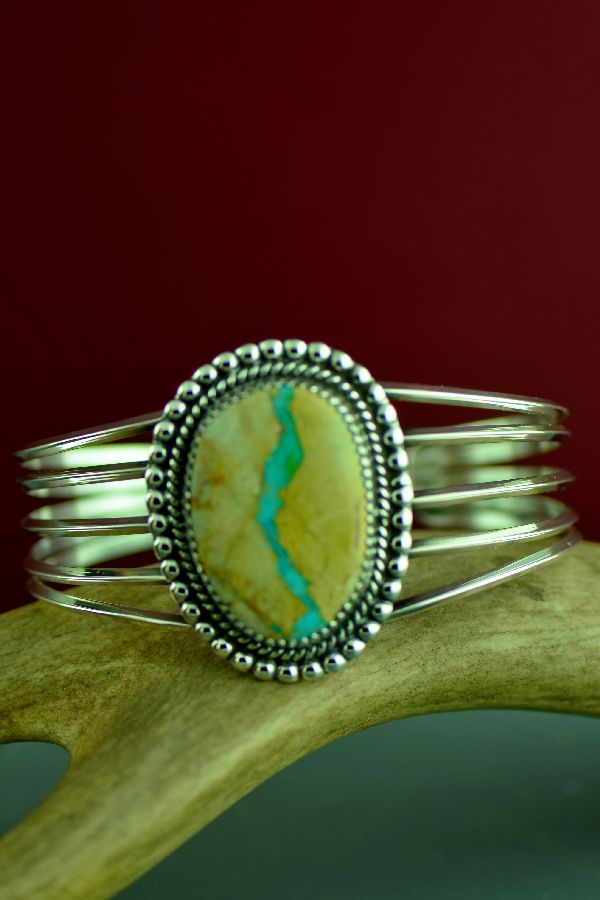 Navajo Sterling Silver Royston Blue Ribbon Turquoise Bracelet by Garrison Boyd