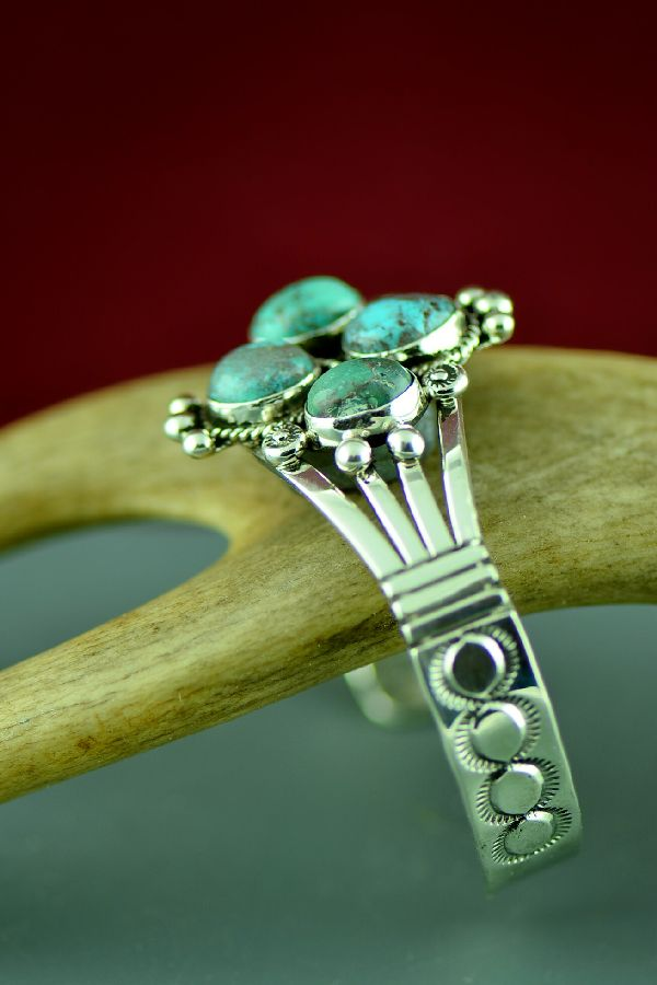Navajo Beautiful Sterling Silver Kingman Turquoise Bracelet by Will Denetdale
