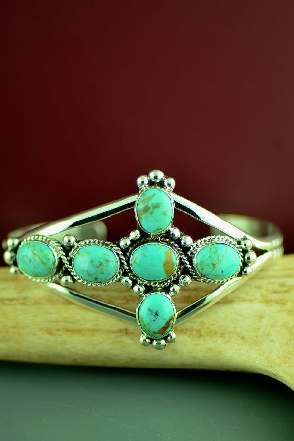 Navajo Sterling Silver Kingman Turquoise Cross Bracelet by Will Denetdale