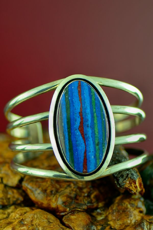 Navajo Sterling Silver Rainbow Calsilica Bracelet by Will Denetdale
