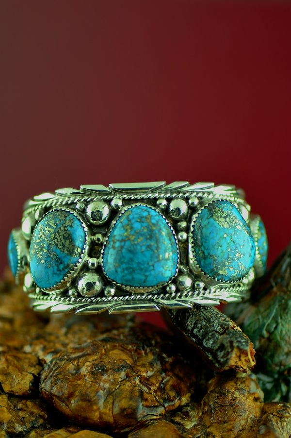 Navajo Sterling Silver High Grade Morenci Turquoise Bracelet (Private Collection)