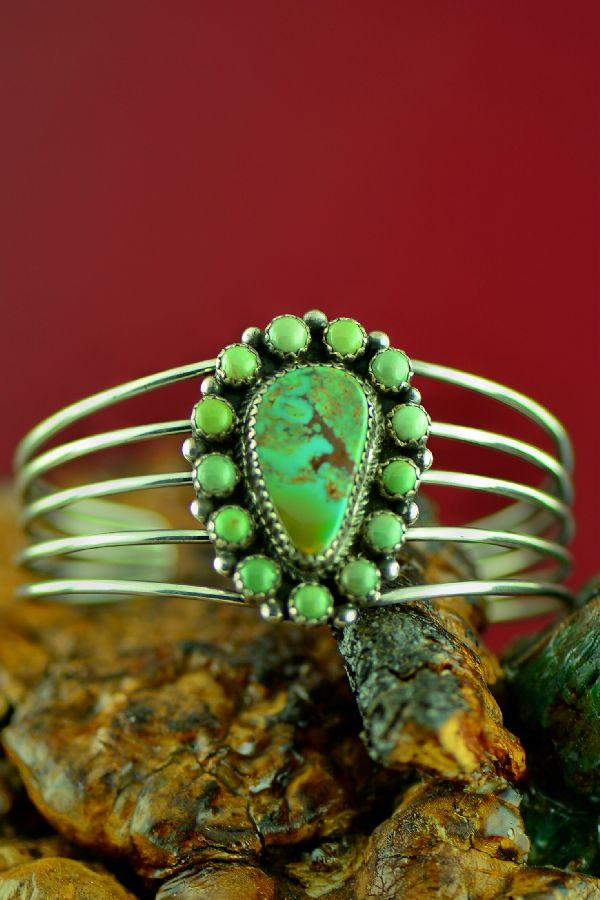 Navajo Sterling Silver Royston Turquoise Cluster Bracelet by Garrison Boyd