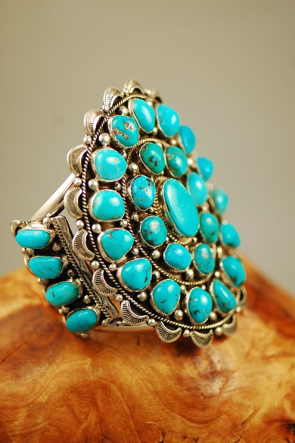 Navajo – Exquisite Heavy Weight Sterling Silver High Grade Natural Morenci Turquoise Cluster Bracelet by Will Denetdale (From a Private Collection)